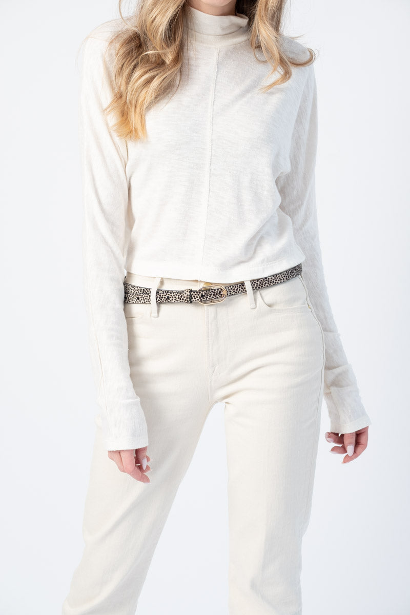 Mock Neck Top in Off White