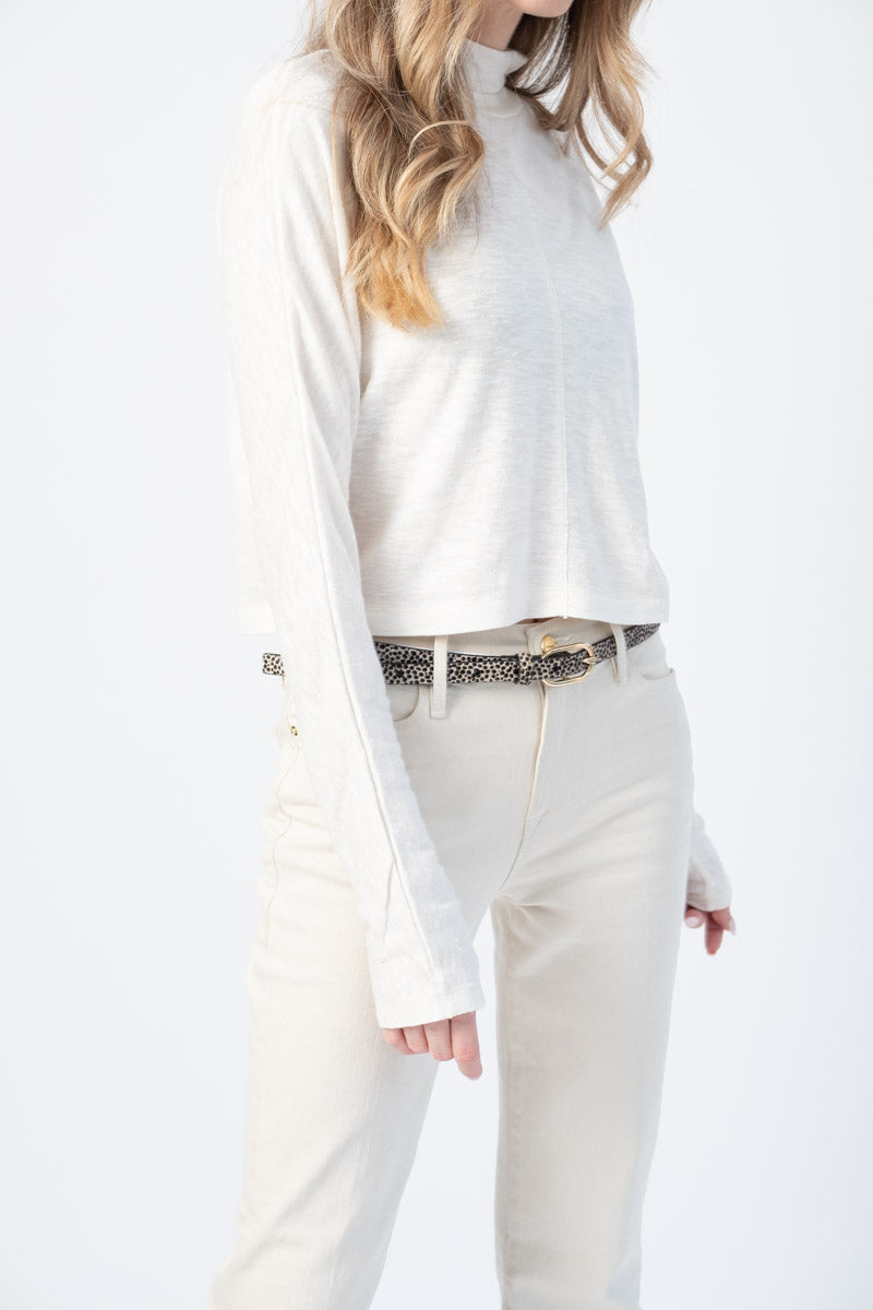 Mock Neck Long Sleeve Top in Off White