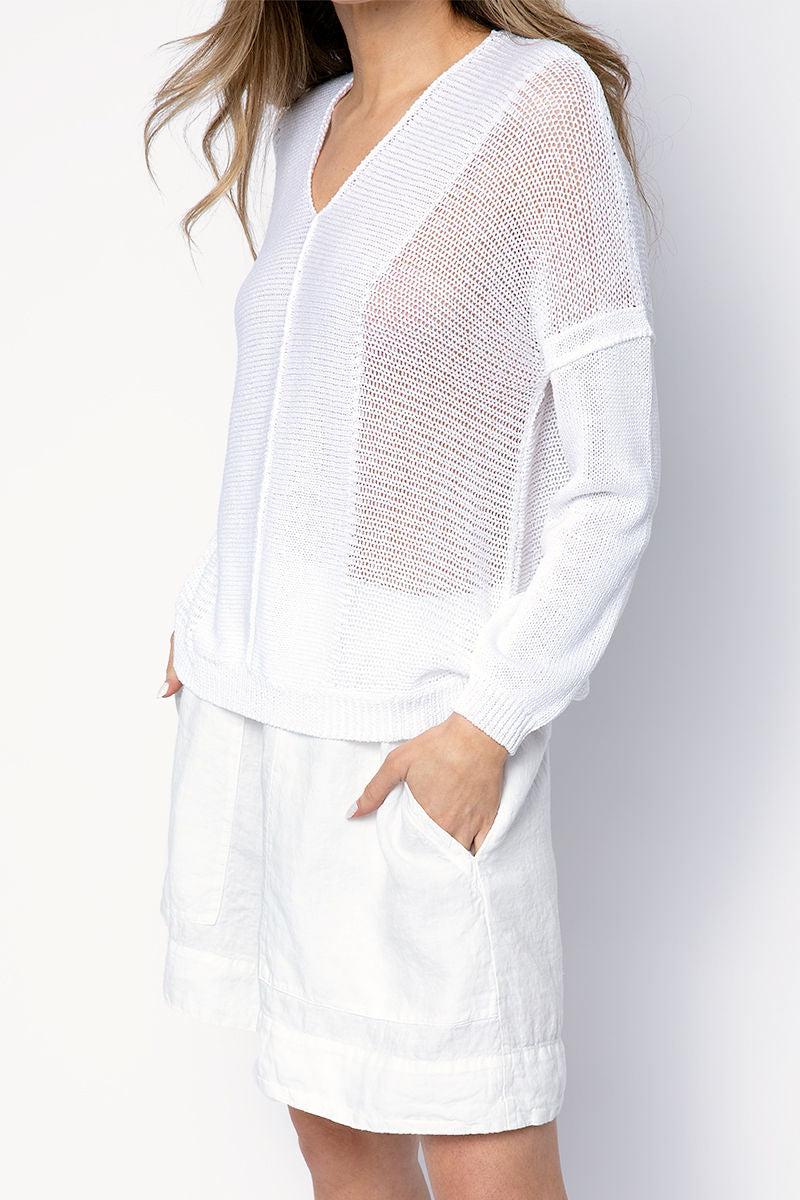Cotton V-Neck Sweater in White