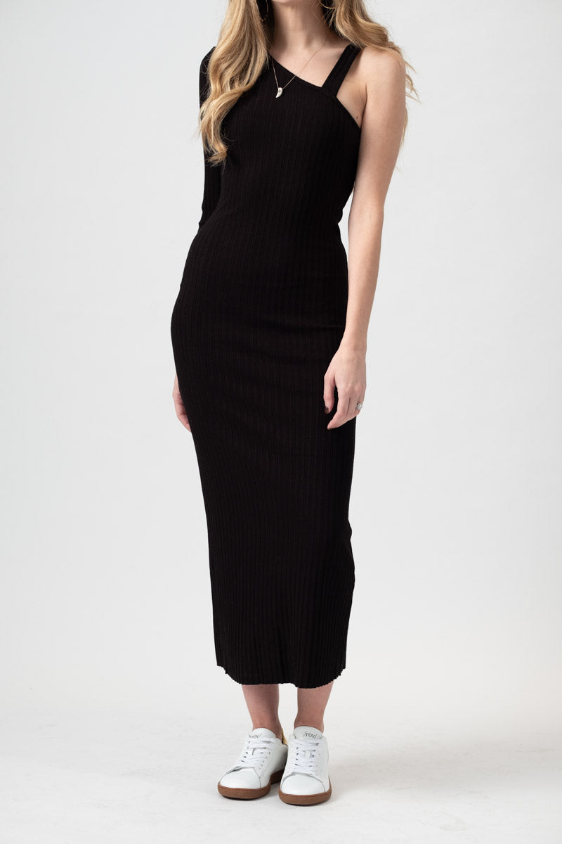 Asymmetric Strap Ribbed Midi Dress in Black