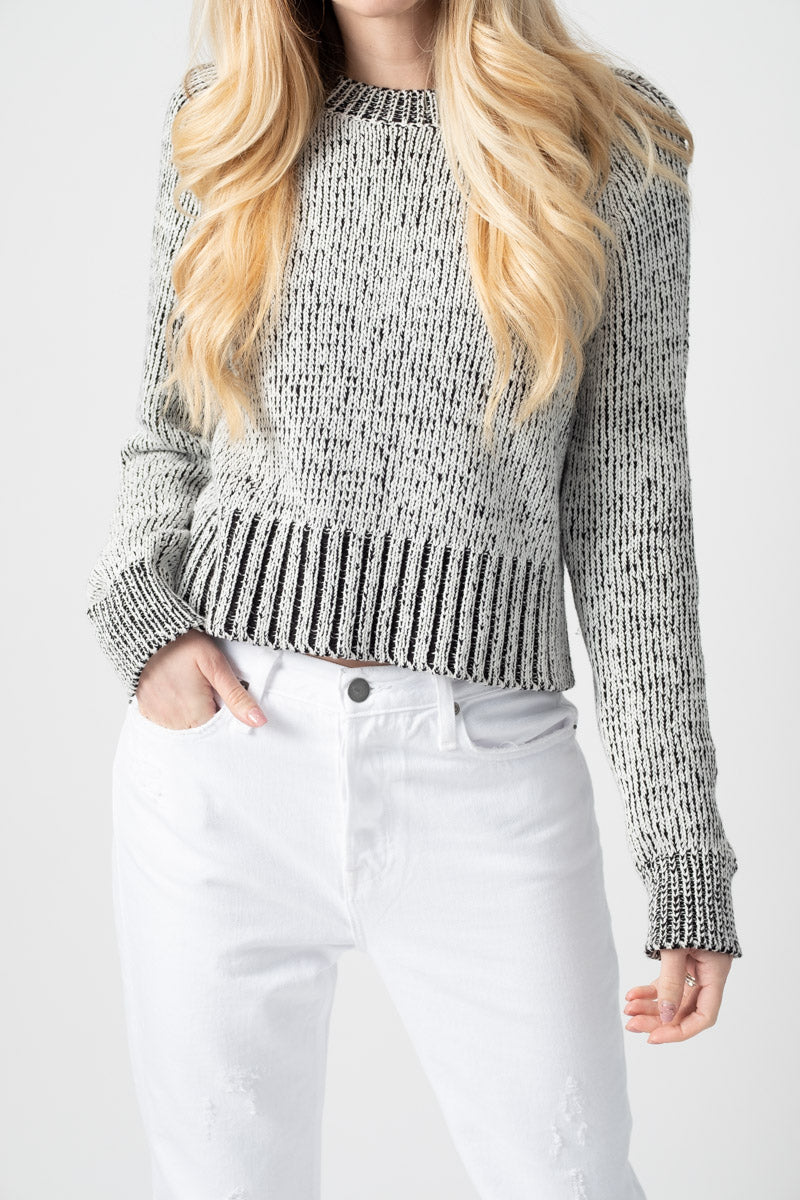 Storm Knit Raglan Crew Sweater in White and Black