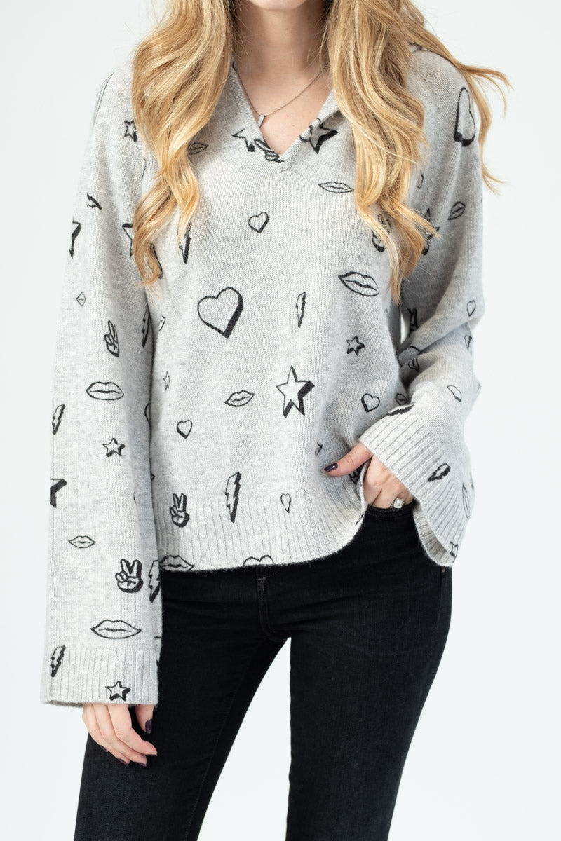 Cashmere Printed Symbol Hoodie in Light Grey