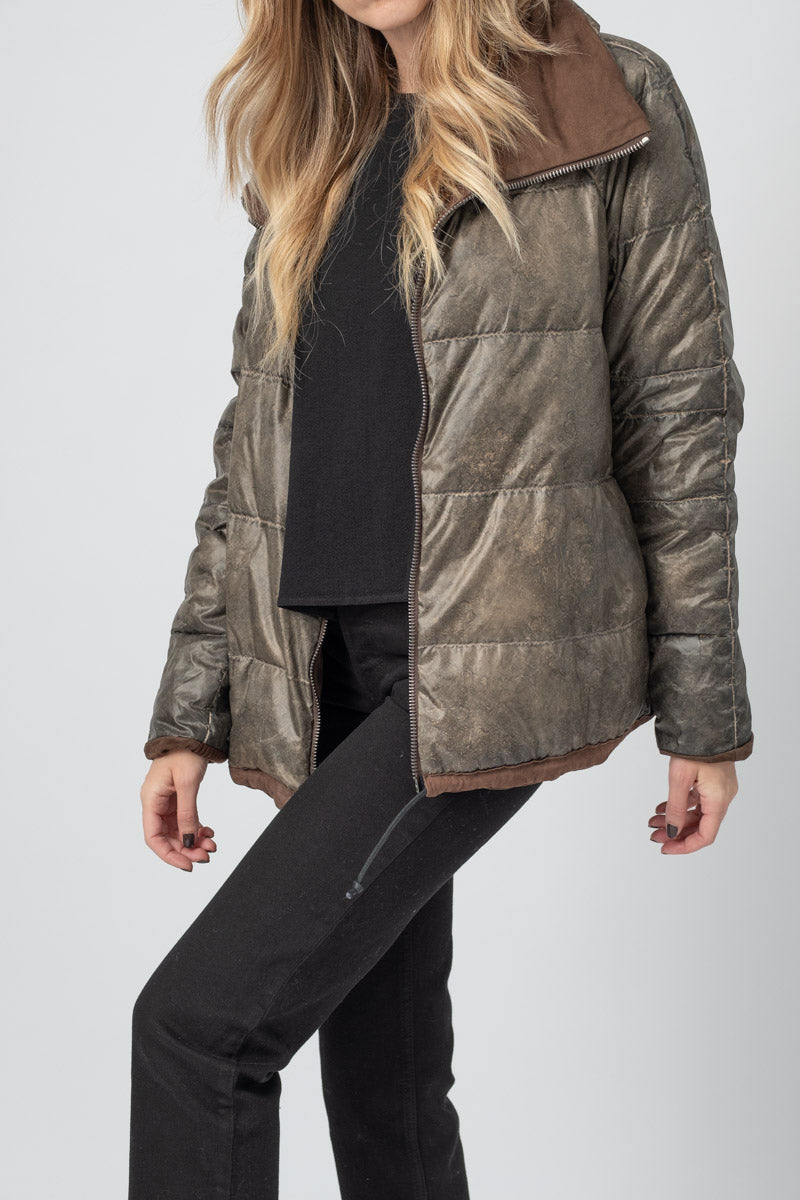 Reversible Leather Puffer Jacket in Brown