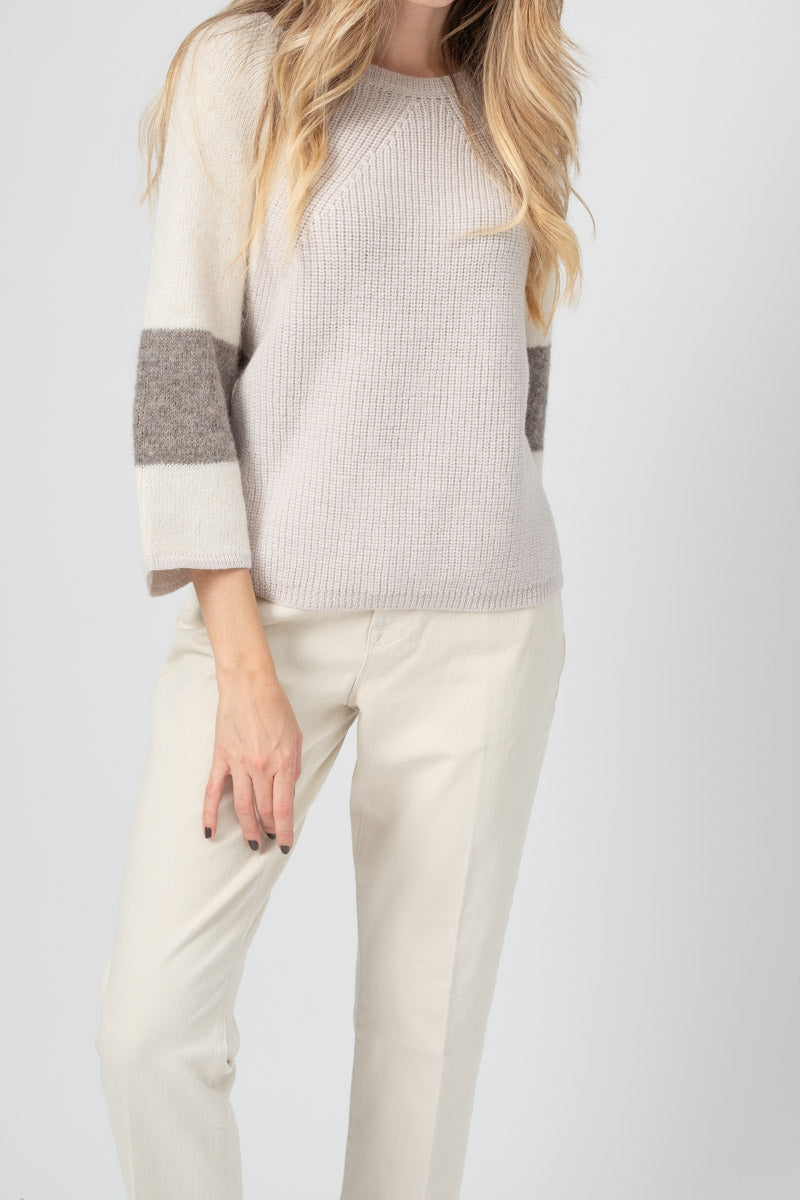 Virgin Wool Knit Jumper in Ivory