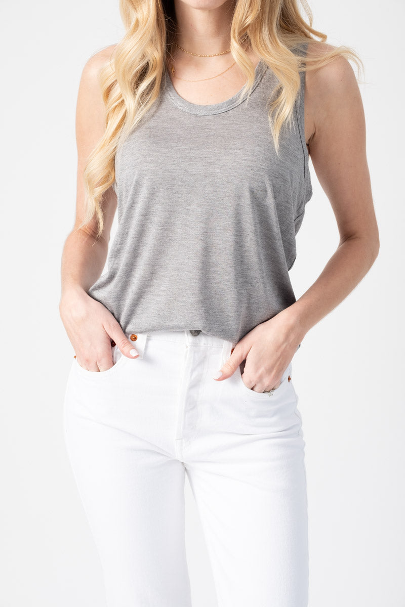 Racer Back Tank in Heather Grey