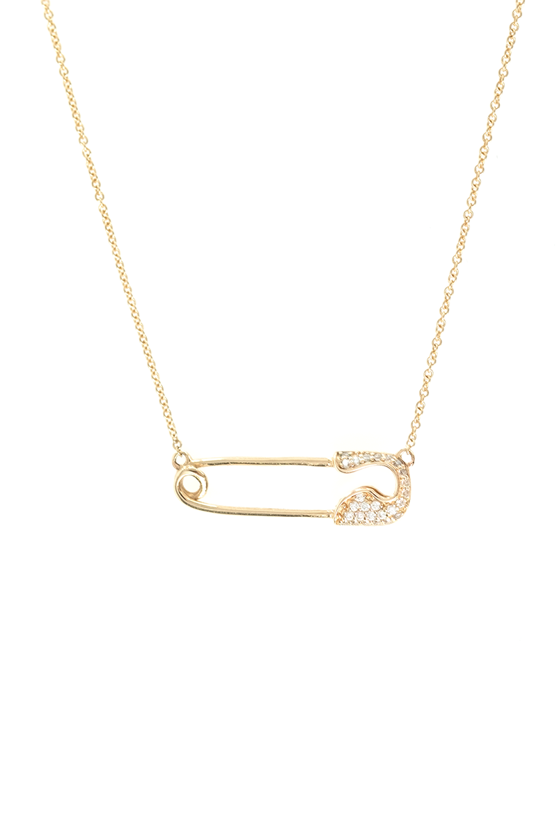 10kt Yellow Gold Crystal Safety Pin Necklace