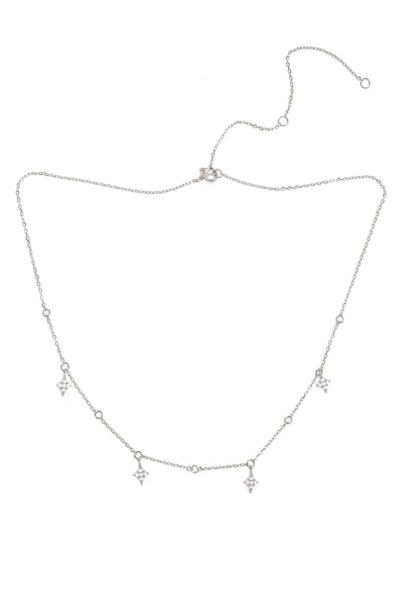 Silver Starburst Charm Necklace