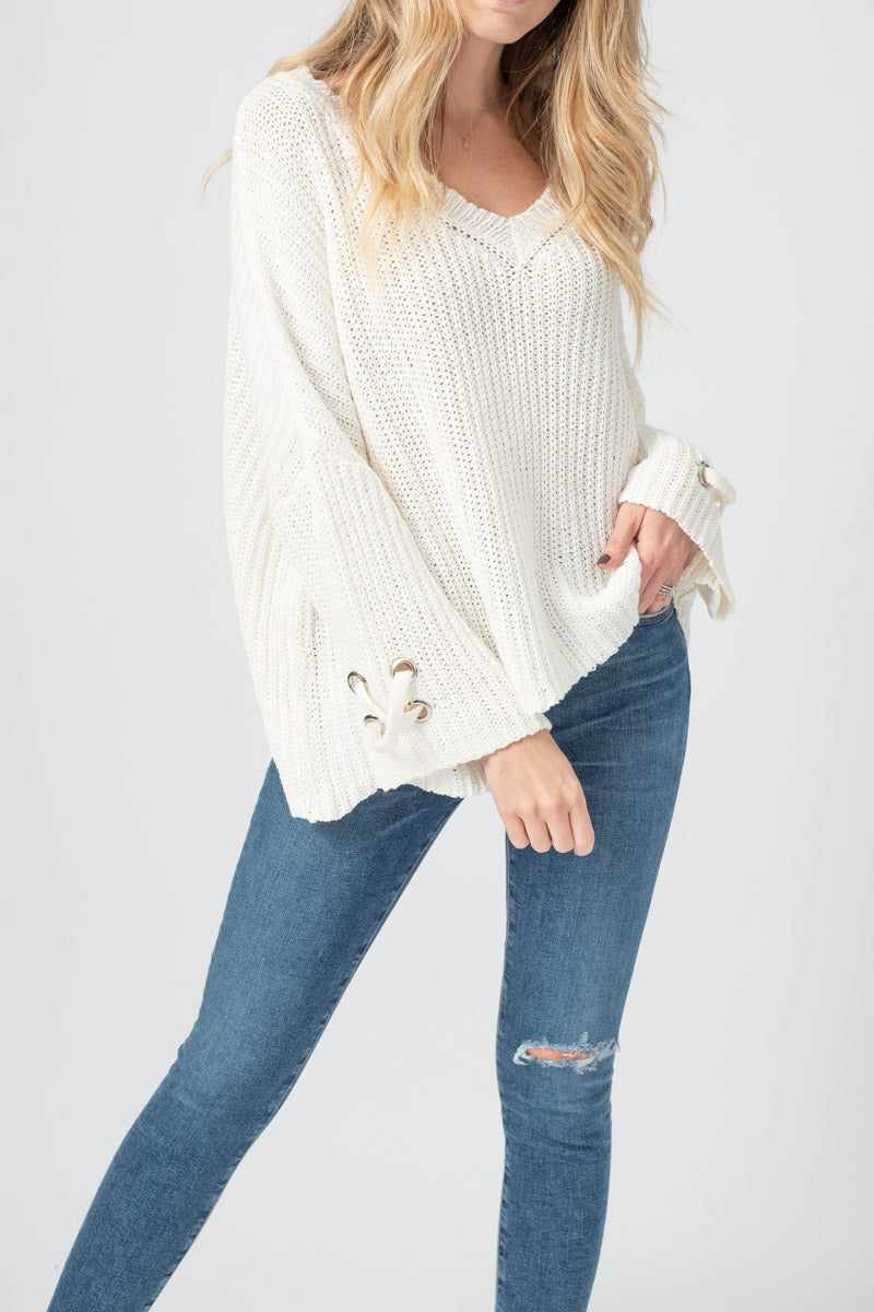 Oversized Grommet V Cotton Sweater in Pure Snow