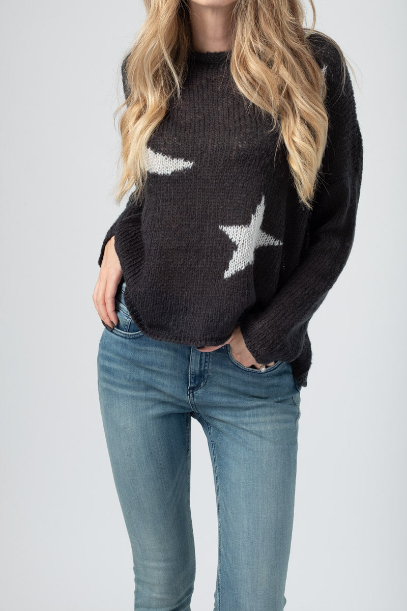 Vincent Crewneck Sweater in Ink Barley and Grey