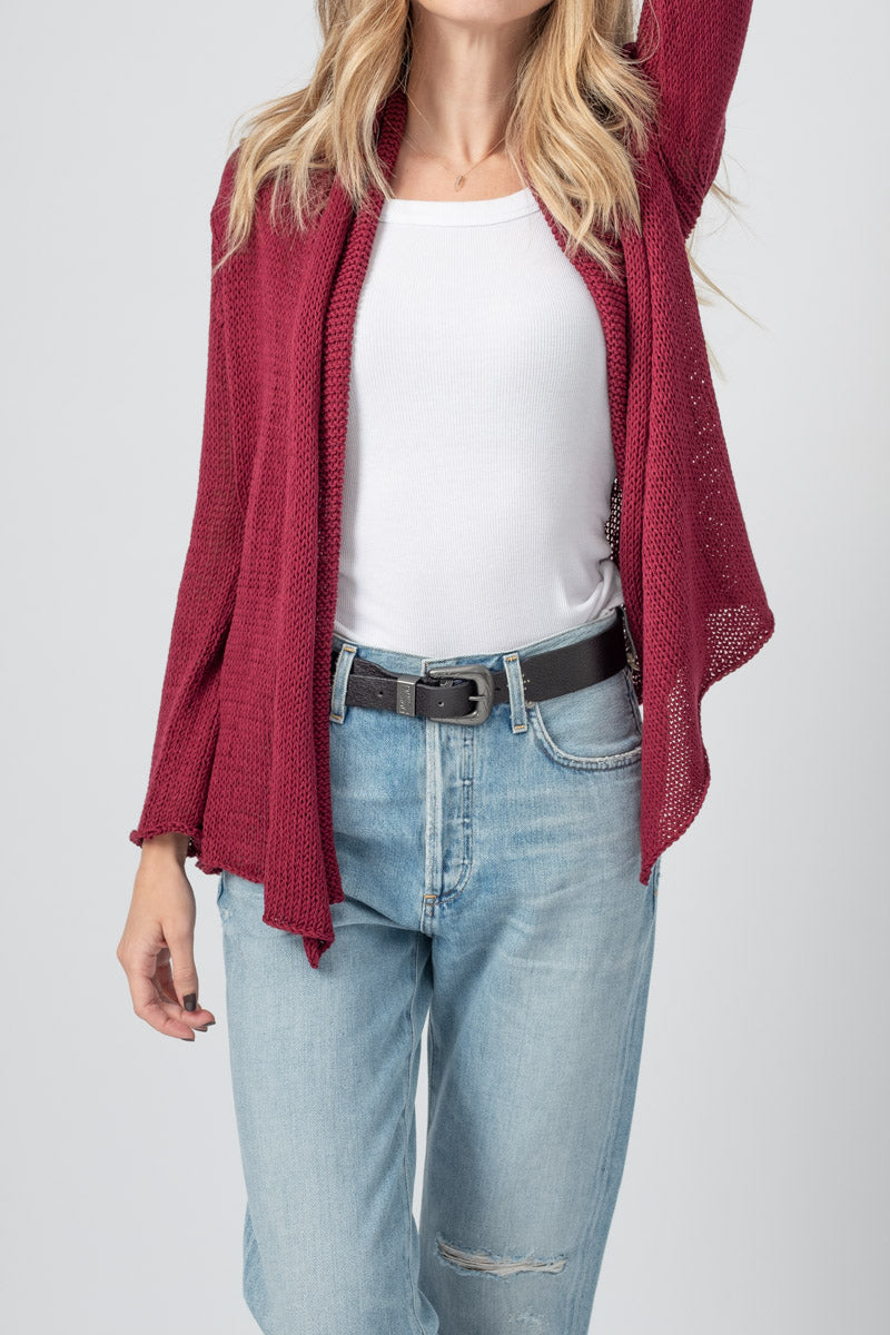 Wrap Cotton Cardigan in Pinot and Noir