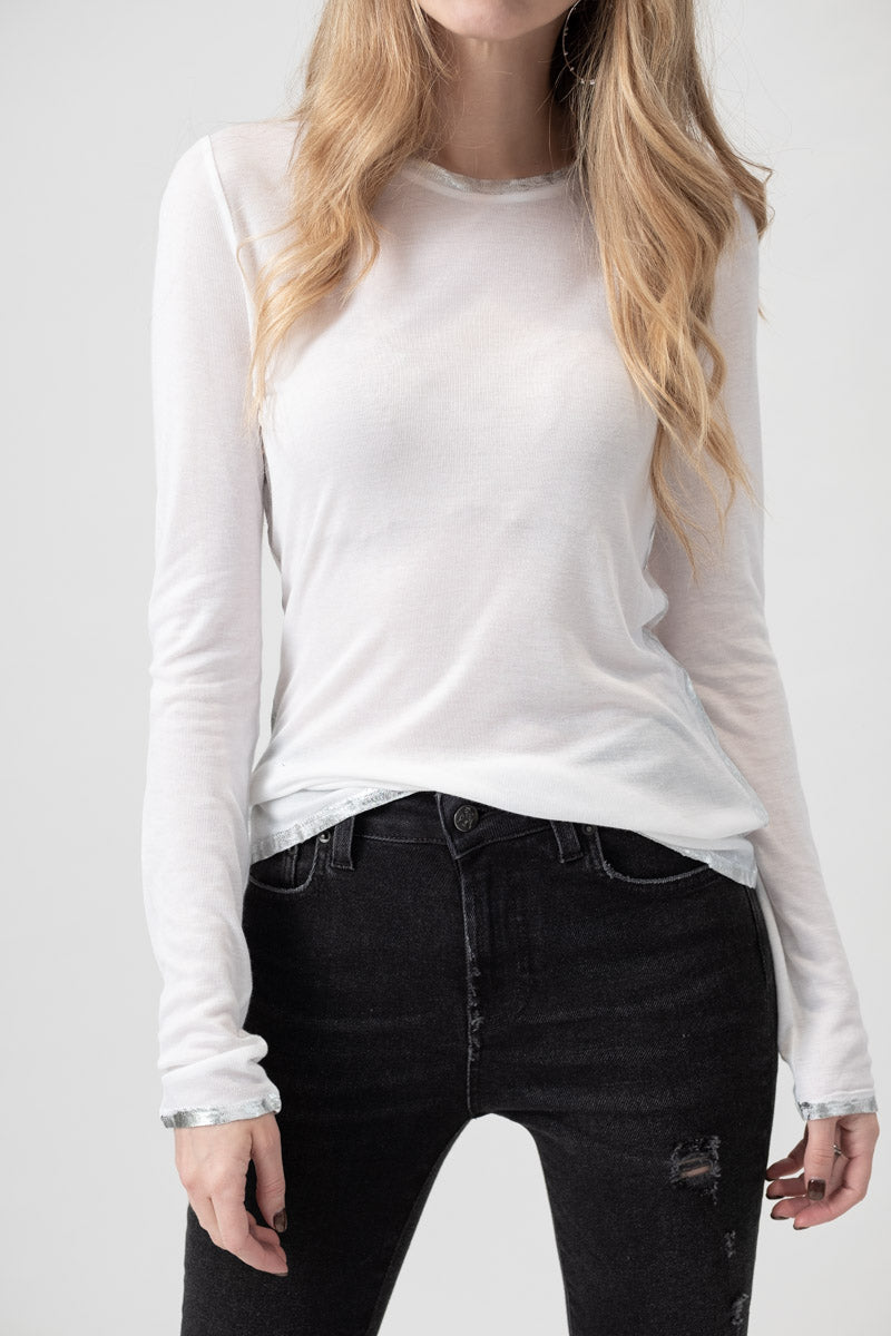 Willy Foil Long Sleeve Top in Blanc