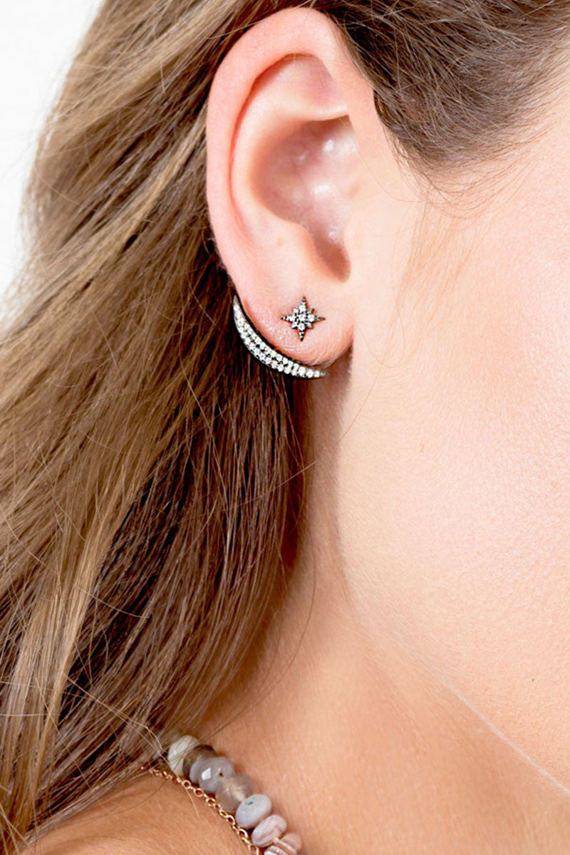 ACELINE-GUNMETAL Ear Jackets