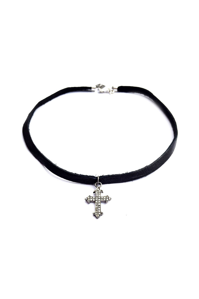 CELY Diamond Cross Leather Choker