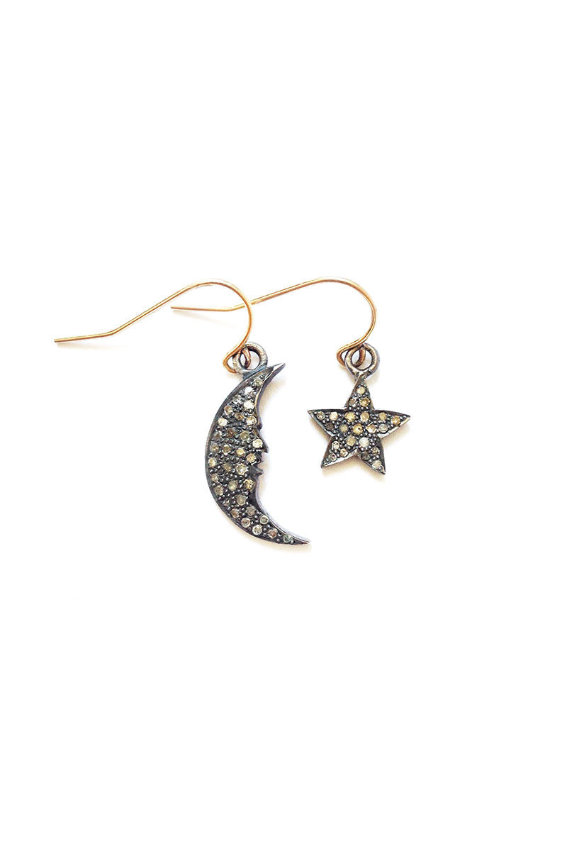 COSTELLA Diamond Star & Moon Earrings