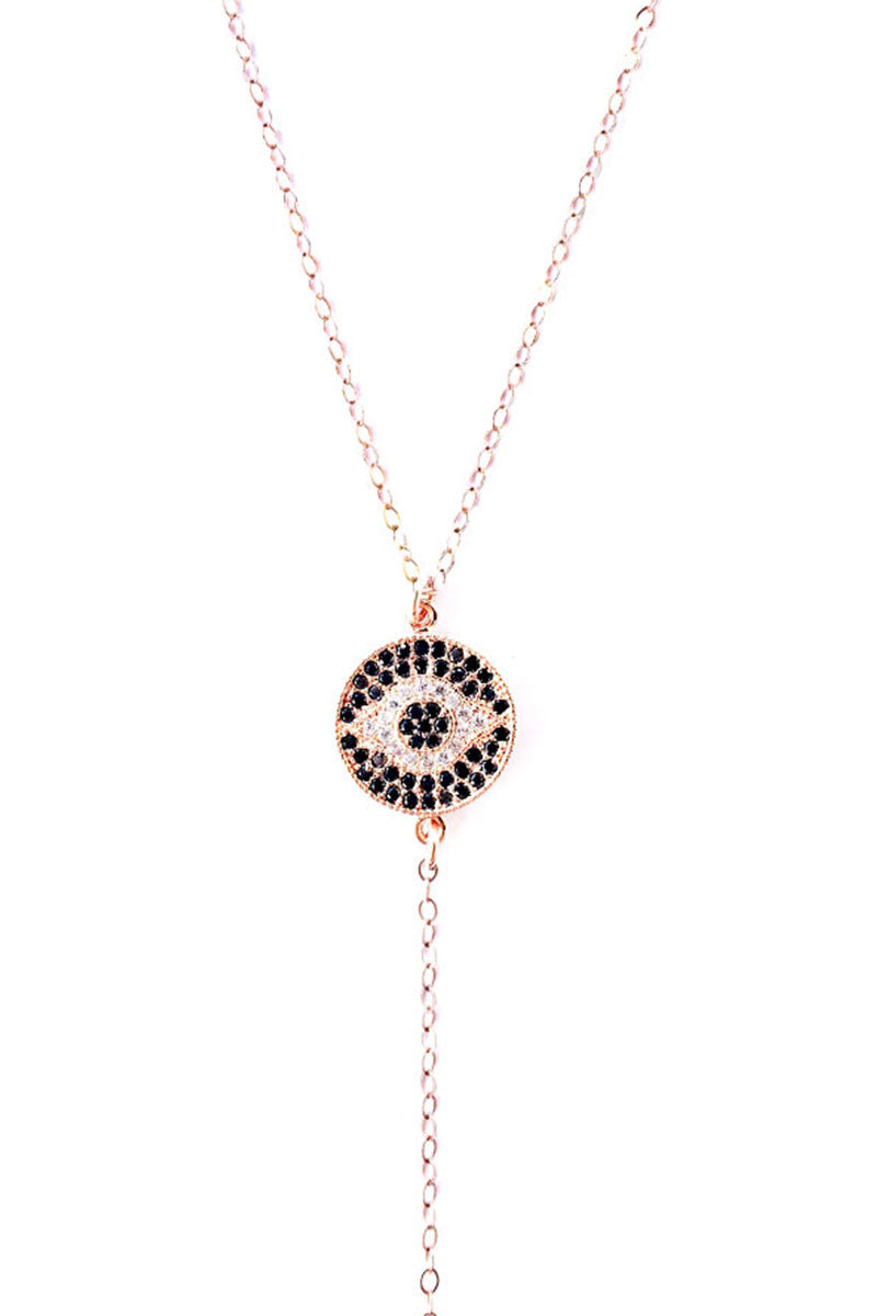 FEMI Rose Gold Evil Eye Lariat Necklace