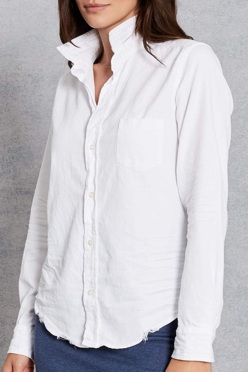 Barry Tattered Button Down Shirt in White