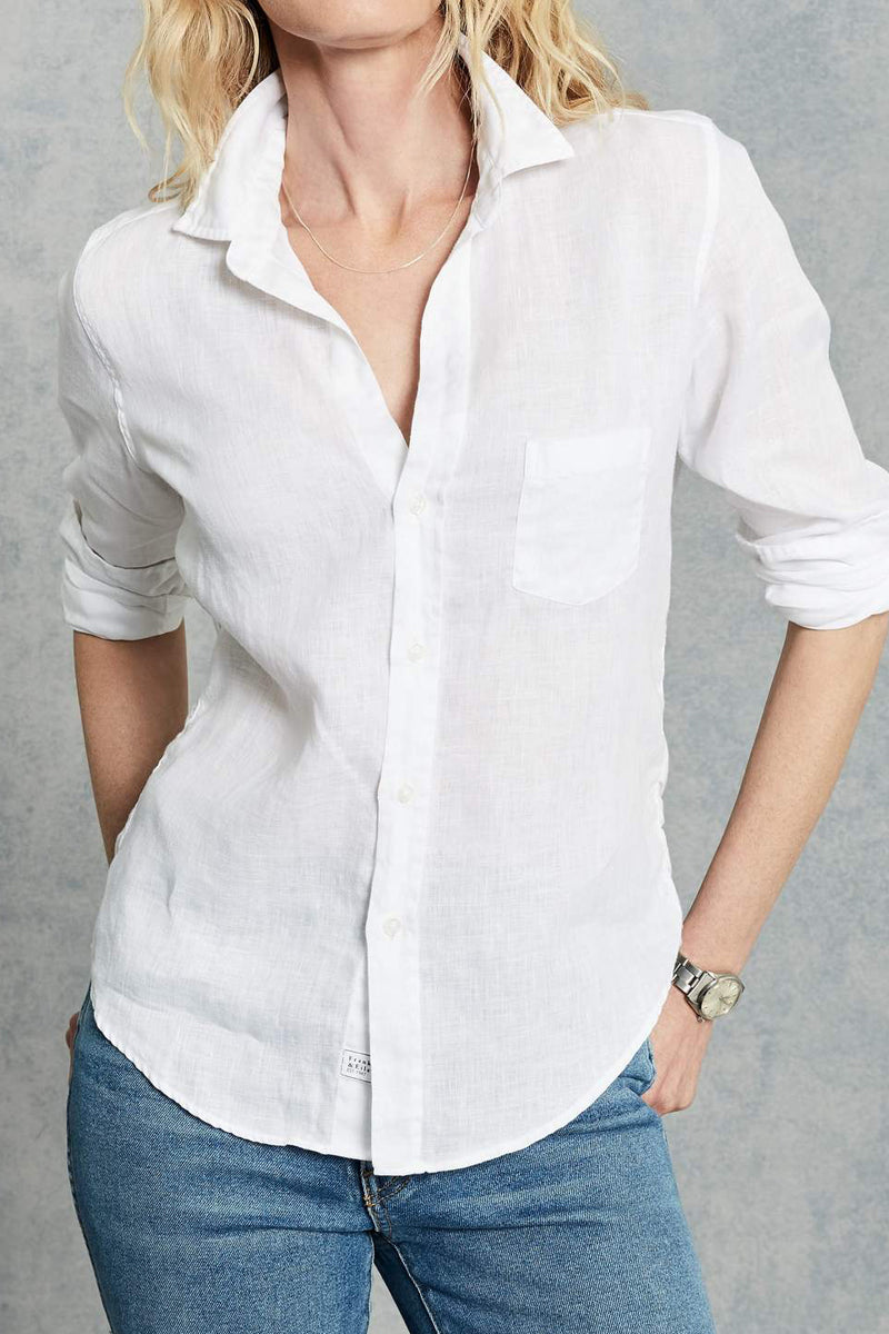 Barry Button Down Shirt in White Linen