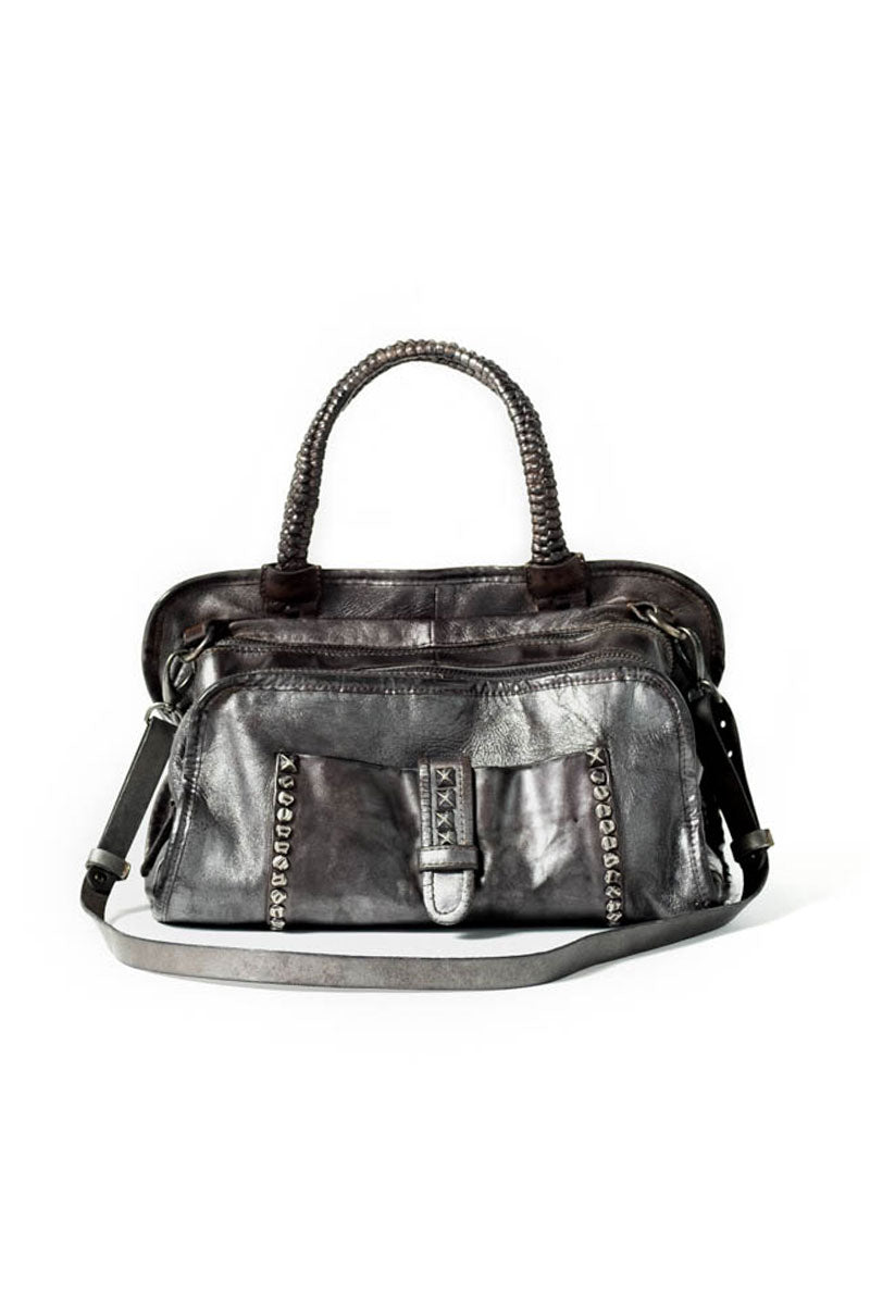 Gunmetal Grey Lamb Leather Purse with Studs