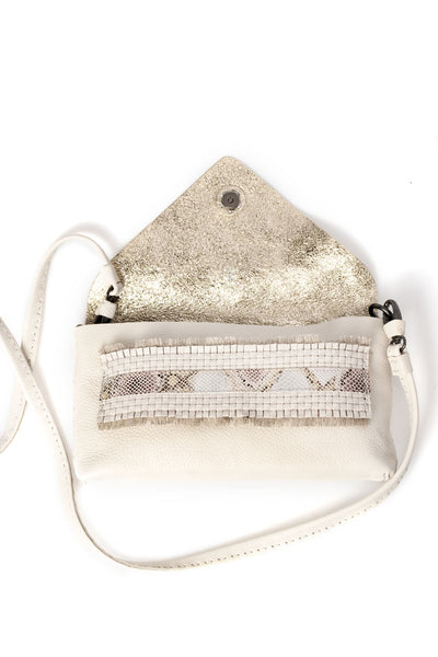 Small Ivory Leather Purse in Gesso