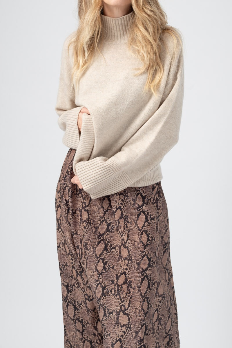 High Low Turtleneck in Oatmeal Heather