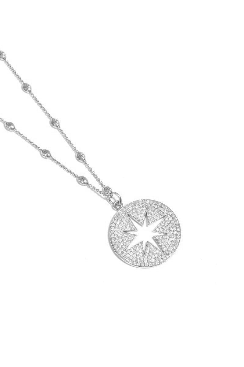 Sterling Silver Diamond Pavé Large Compass Necklace on Lunar Chain