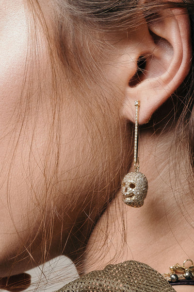 18K Gold Diamond Skull Singlet Earring