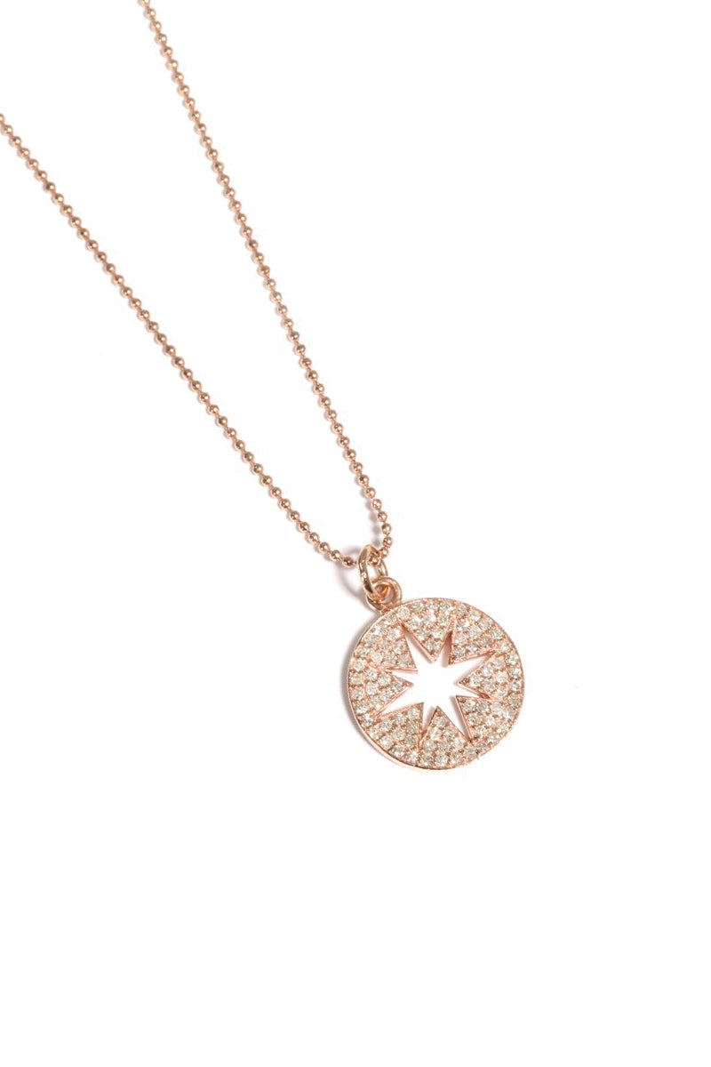 Rose Gold Pavé Diamond Small Compass Necklace