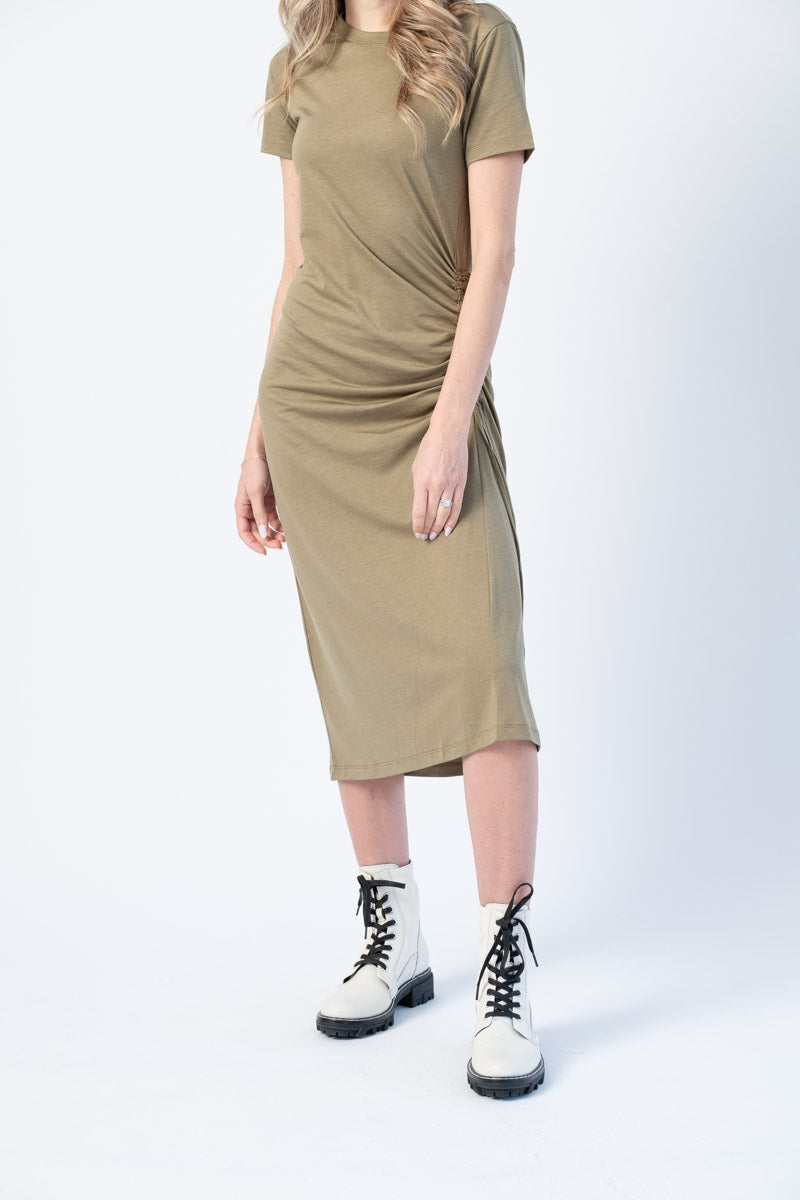 Ina Short Sleeve Knee-Length Dress in Light Olive