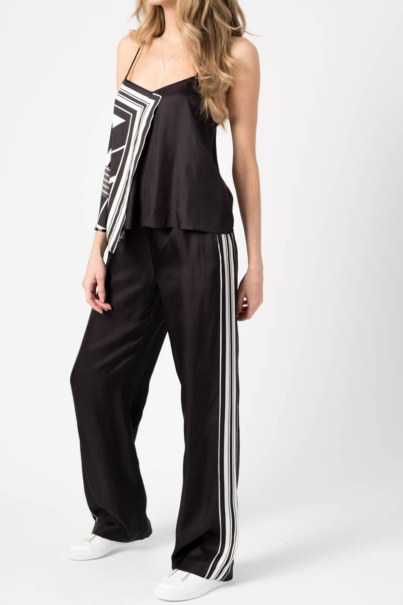 Isadora Contrast Wide Leg Pant in Black and White