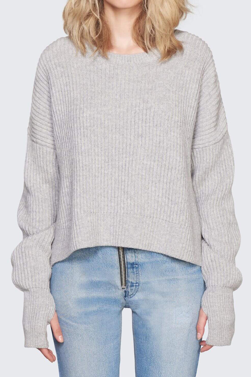 Cashmere Crop Sweater in Heather Grey