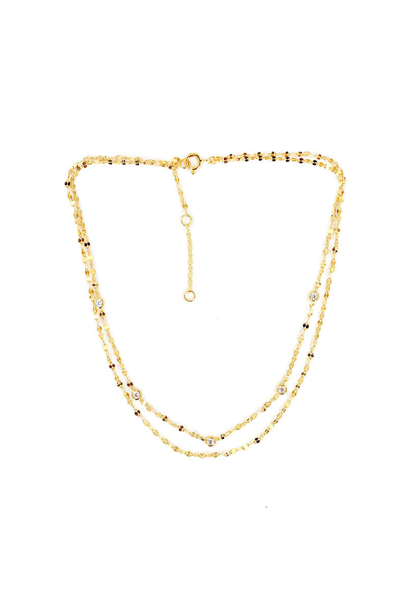 Aurora Double Chain Choker in Gold
