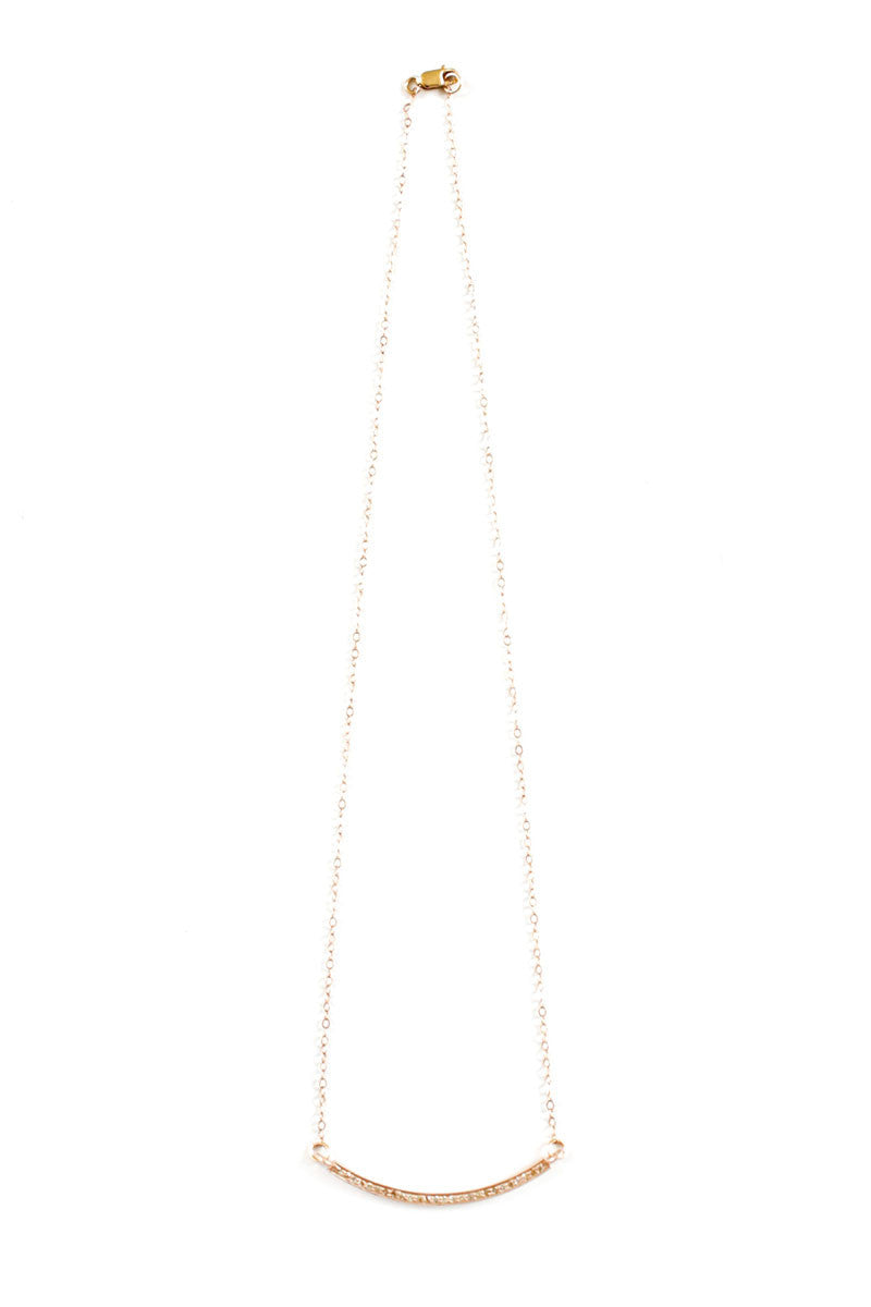 Pavé Diamond Bar Rose Gold Filled Necklace