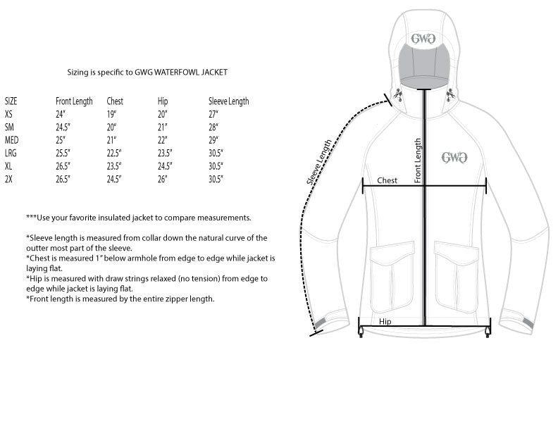 Waterfowl Jacket Size Chart