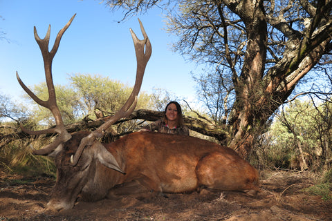 Norissa with her beautiful free range stag from Argentina.
