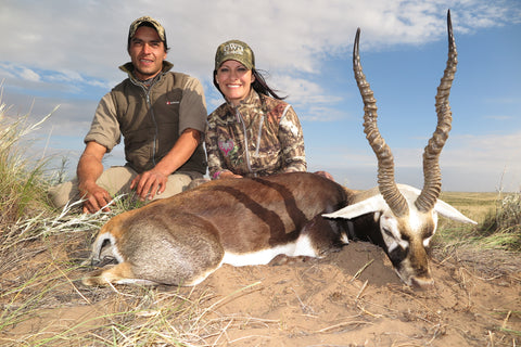Jen and her Guide for her Blackbuck hunt, Gustavo, very happy to find her Blackbuck after hours of tracking.