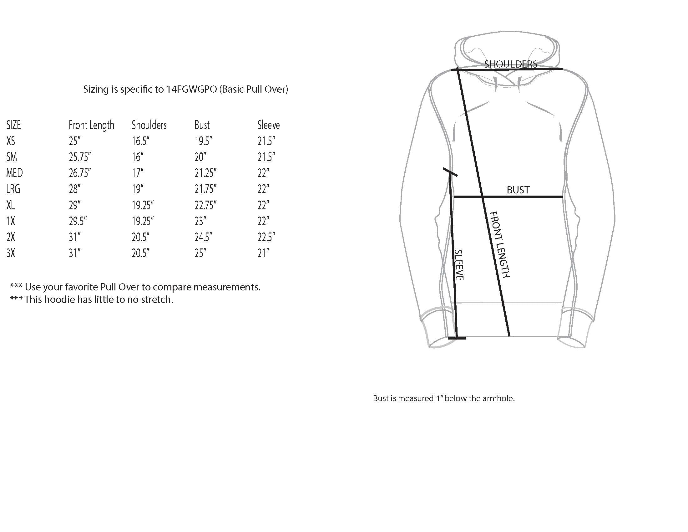 GWG Pullover Size Chart