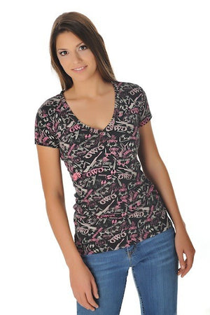 GWG Camo Collage Tee Pink - Girls With Guns