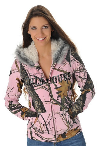 Mossy Oak Break Up® Pink Fur Hoodie - Girls With Guns