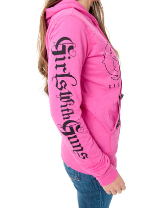 Shooting Hoodie - Zip Up Pink - Girls With Guns - 2