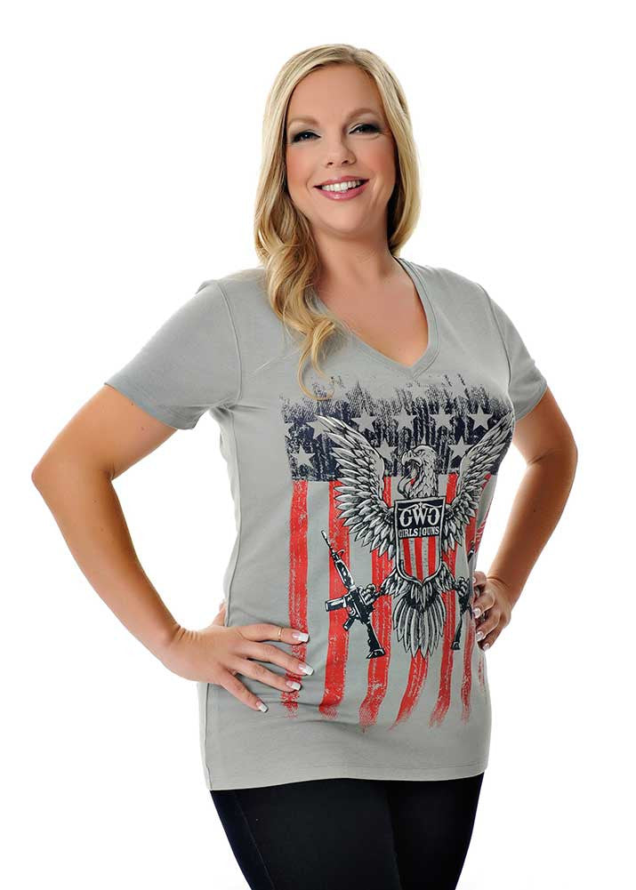 Womens 2nd Amendment Tee in Charcoal by Girls With Guns