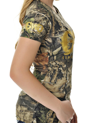 Womens Basic Tee in Mossy Oak Break Up Country Camo by Girls With Guns Side View