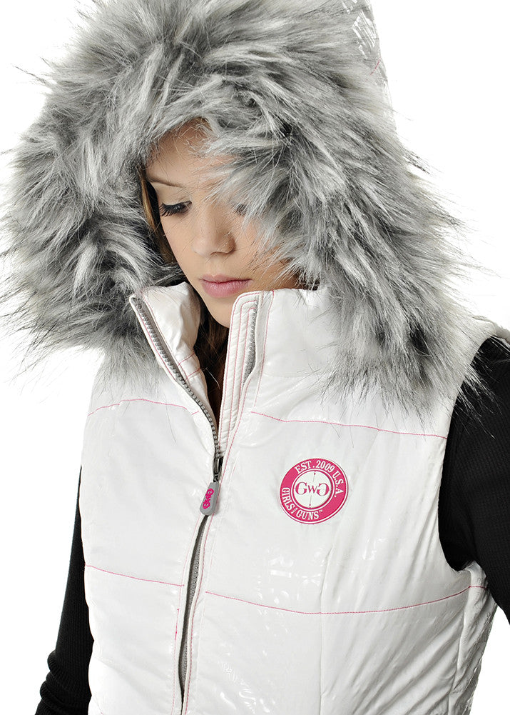 Womens Fur Vest in White by Girls With Guns