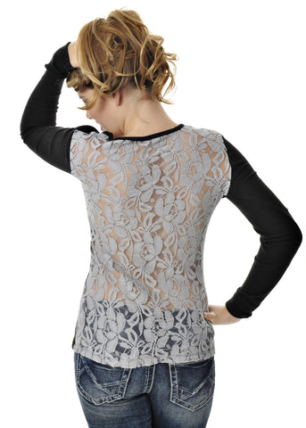 Womens Lace Top in Black by Girls With Guns