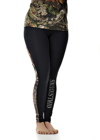 Womens Running Pants in Black and Mossy Oak Break Up Country Camo by Girls With Guns