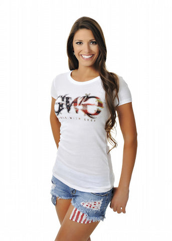 Womens Basic GWG Tee in White with Red White and Blue by Girls With Guns