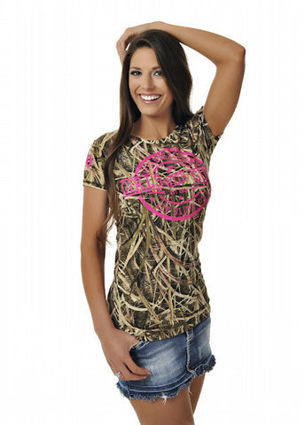 Womens Duck Tee in Mossy Oak Blades Camo with Neon Pink by Girls With Guns