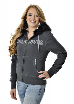 Womens Fur Hoodie in Charcoal by Girls With Guns