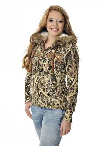 Womens Fur Hoodie in Mossy Oak Blades Camo by Girls With Guns