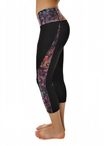 Womens Crop Running Pant in Black with Spray It Out by Girls With Guns Front View