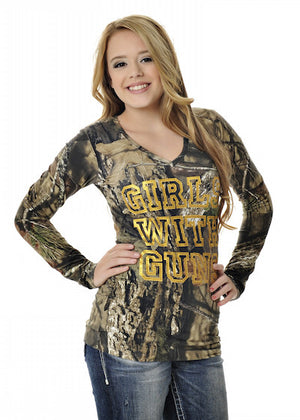 Womens Stone Tee in Mossy Oak Break Up Country Camo by Girls With Guns
